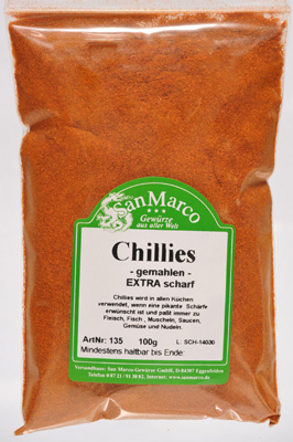 Chillies, gemahlen, scharf, californisch